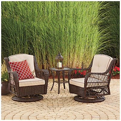 wilson fisher barcelona 3 piece resin wicker glider chairs and table set at - Garden Furniture 3 Piece
