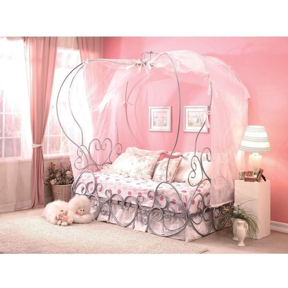Priya Silver Metal Princess Canopy Bed Princess canopy