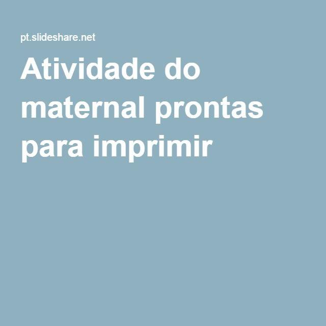Atividade Do Maternal Prontas Para Imprimir Pdf Com Imagens