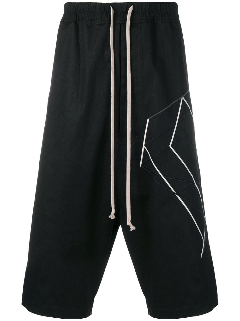 65d9523374 RICK OWENS RICK OWENS GEOMETRIC SHAPE LONG SHORTS - BLACK. #rickowens #cloth