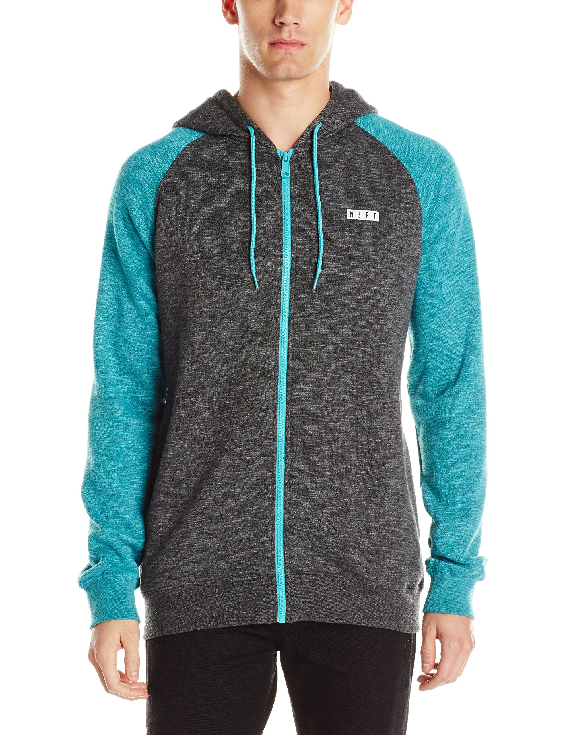 Neff menus daily zip hoodie turquoise heather xxlarge apparel