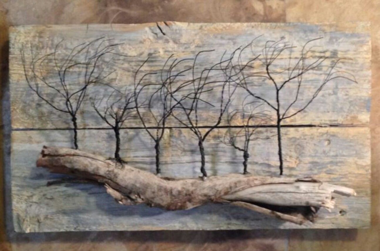 Mixed media - Twisted wire trees on driftwood.   Wall art branches ...