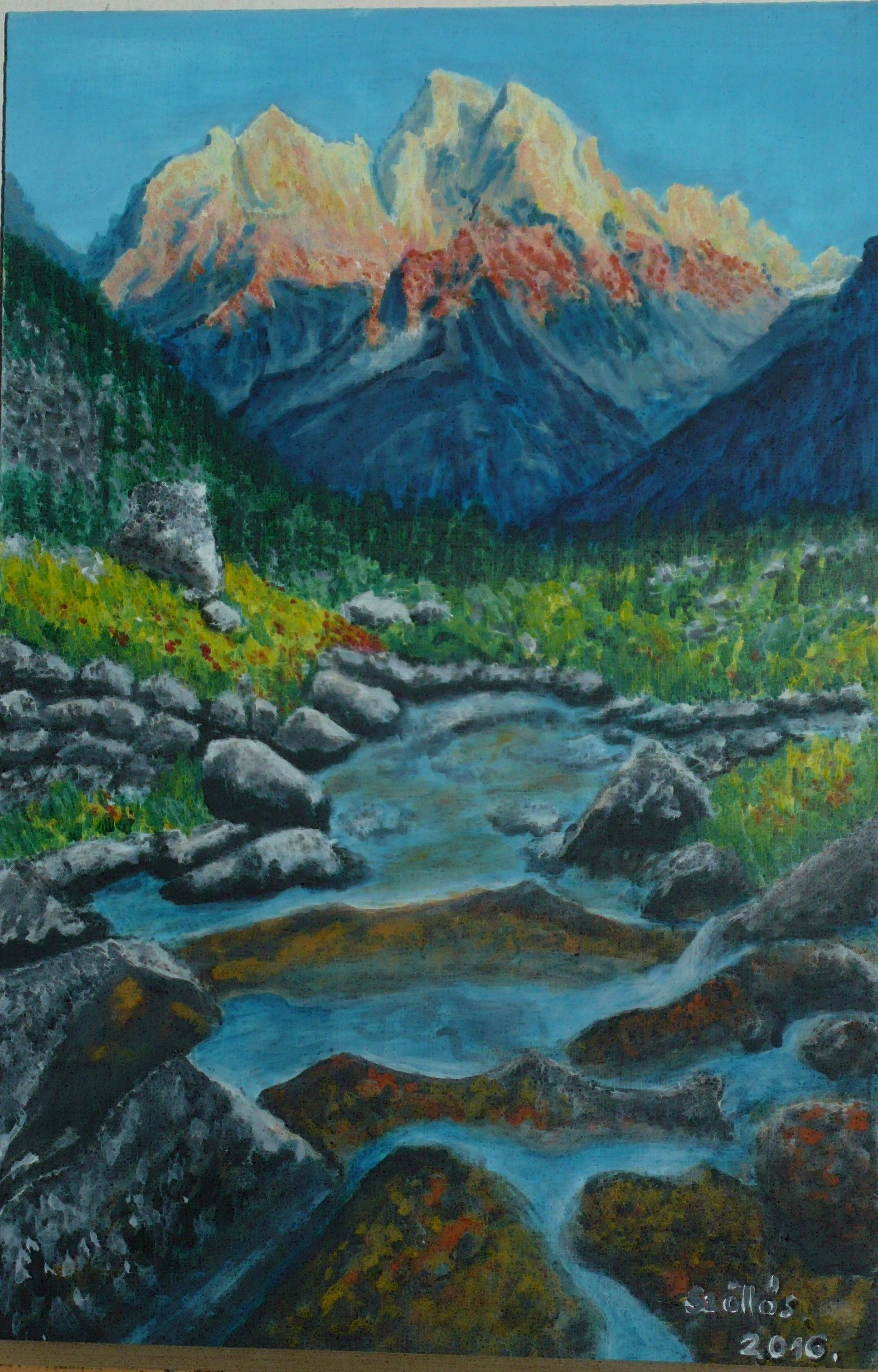 Created by:  Szöllős Éva - Grand Teton National Park (USA) - acrylic, 20x30 cm wallboard. Original photography: road tippers.com