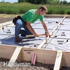 Form and pour a concrete slab garden pinterest concrete slab pouring a concrete slab yourself can be a big money saver or big mistake we show you the best techniques and tools so you get it right the first time solutioingenieria Choice Image