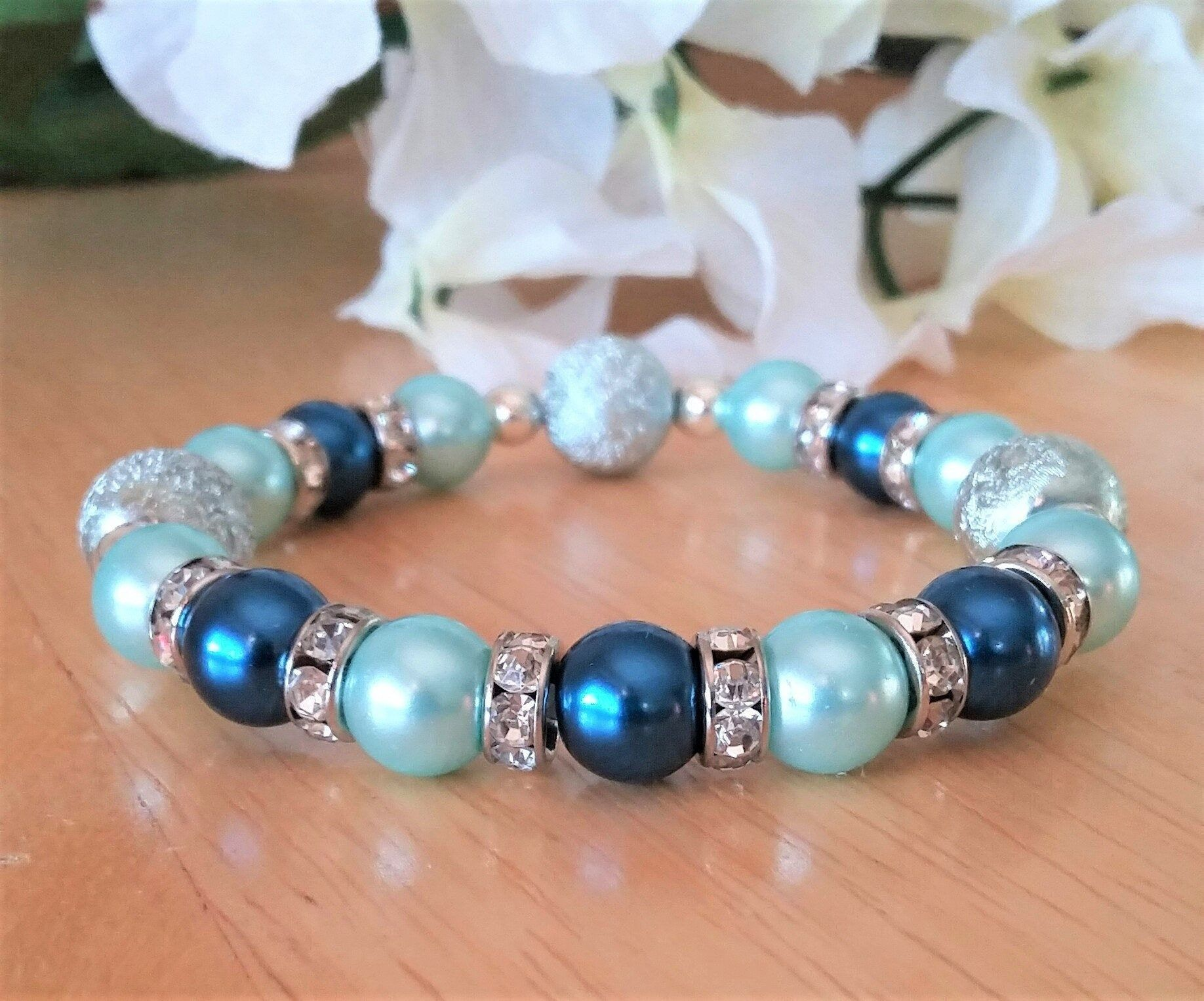 Blue Pearl Bead Bracelet - Something Blue - Wedding Jewelry - Bridesmaid Gift