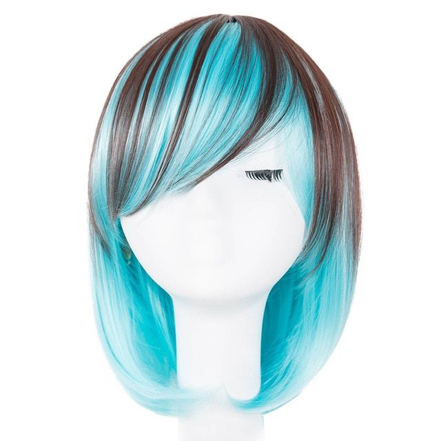 Cosplay Wig Fei-show Synthetic Heat Resistant Fiber Wavy Sky Blue Inclined Bangs Hair Student Hairpiece Short Salon Party Peruca Synthetic Wigs