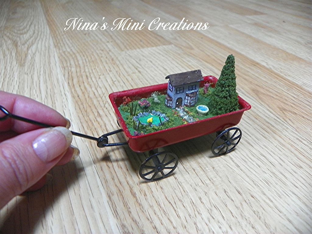 Dining A Scale Red Wagon By Nina Ohthis Was Made Micro Mini Fairy Garden Micro Mini Fairy Garden A Scale Red Wagon By Nina Micro Miniature Fairy Garden Accessories Micro Mini Fairy Garden Furniture