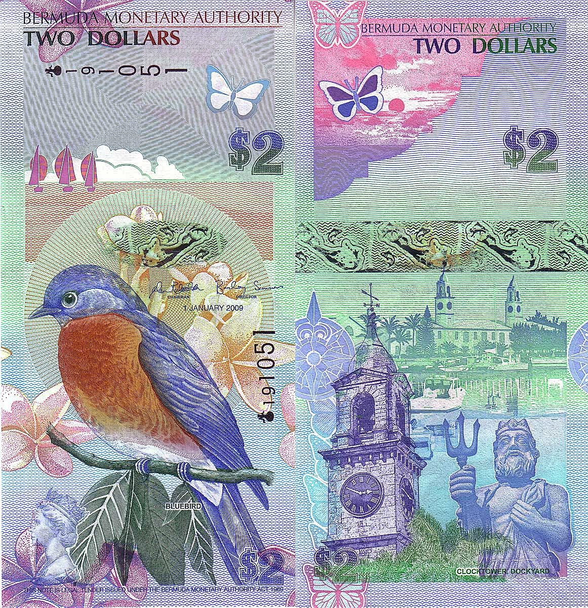 Bermuda 2 Dolares 2009 Bank Notes Currency Design Money Notes
