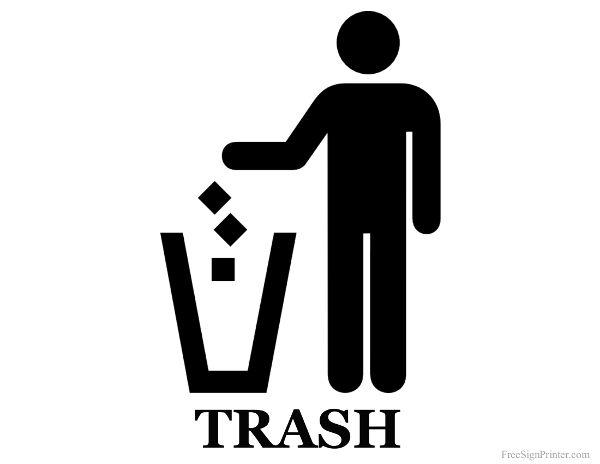 Printable Trash Can Sign Printable Signs Free Pictogram Pictogram Design