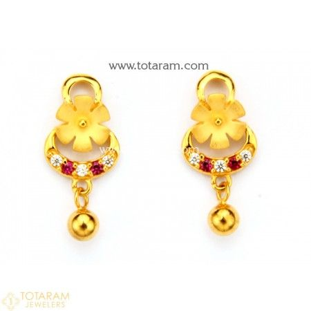 b56879bd5 22K Gold Earrings for Women with Cz - 235-GER8779 - Buy this Latest Indian  Gold Jewelry Design in 3.000 Grams for a low price of $201.00
