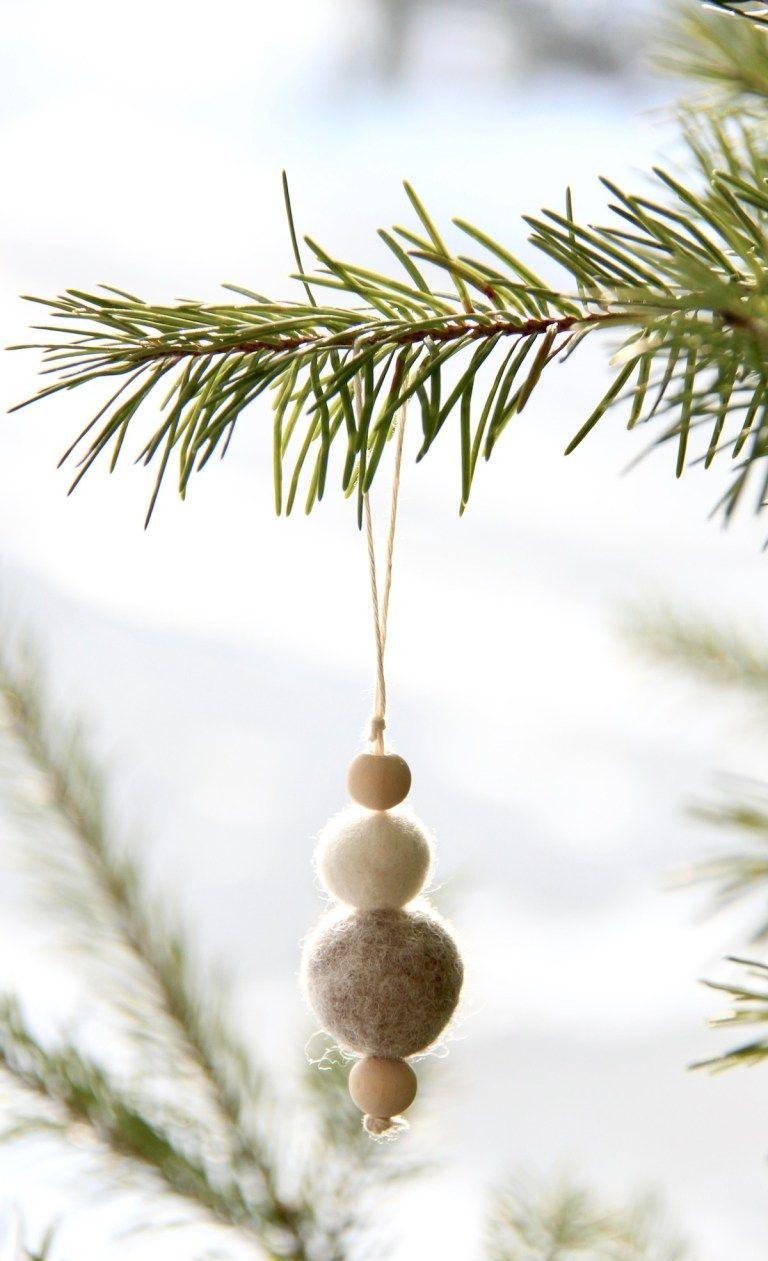 Felt Wood Tree Ornaments For A Simple Holiday Tree Felt