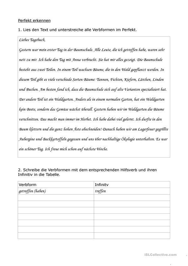 Perfekt erkennen Tagebuch | Deutschunterricht | Pinterest | Tagebuch
