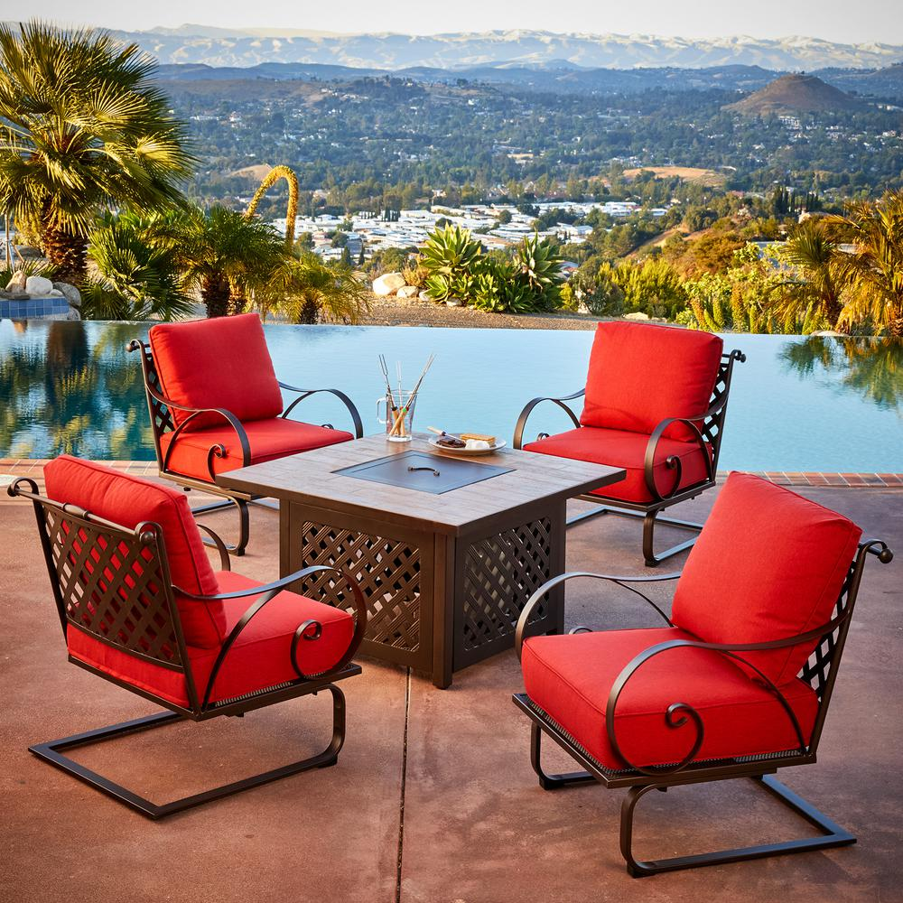Mobel Royal Garden Sienna 5 Piece Metal Patio Fire Pit Conversation Set With Red Cushions Senfst503 The Hom In 2020 Fire Pit Seating Fire Pit Sets Fire Pit Furniture