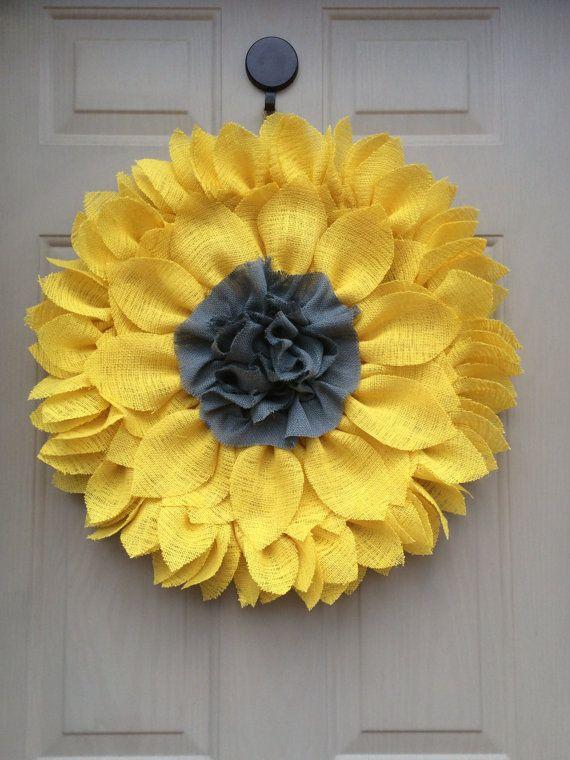 Yellow & Gray Burlap Sunflower Wreath by ValsShabbyShack on Etsy