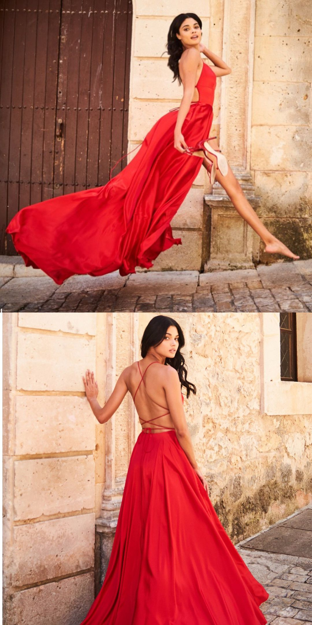 Gorgeous straps red long prom dress with slit in ball gown