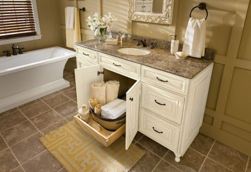 Country Bathroom Vanities | ... Under The Basin Makes Accessing Bathroom  Necessities Easy To