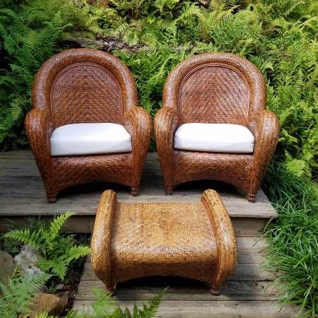 Pottery Barn Malabar Large Rattan Chairs U0026 Ottoman. Smoke Free Pet Free  Super