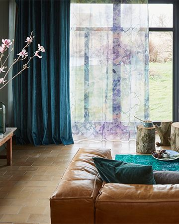 Gordijnen Met Prints Transparant Gordijn Met Paars Blauw Roze Print ...