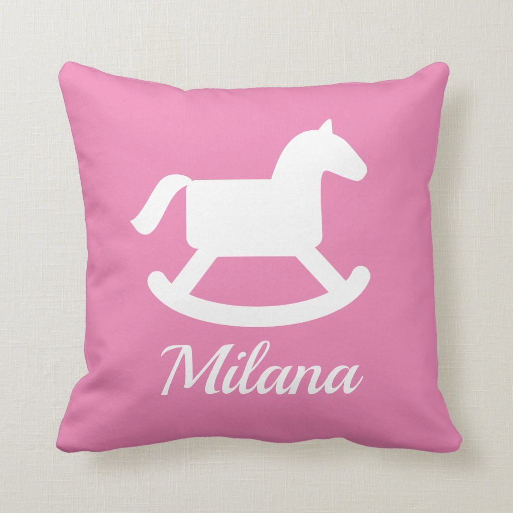 Photo of Girly pink rocking horse throw pillow for nursery