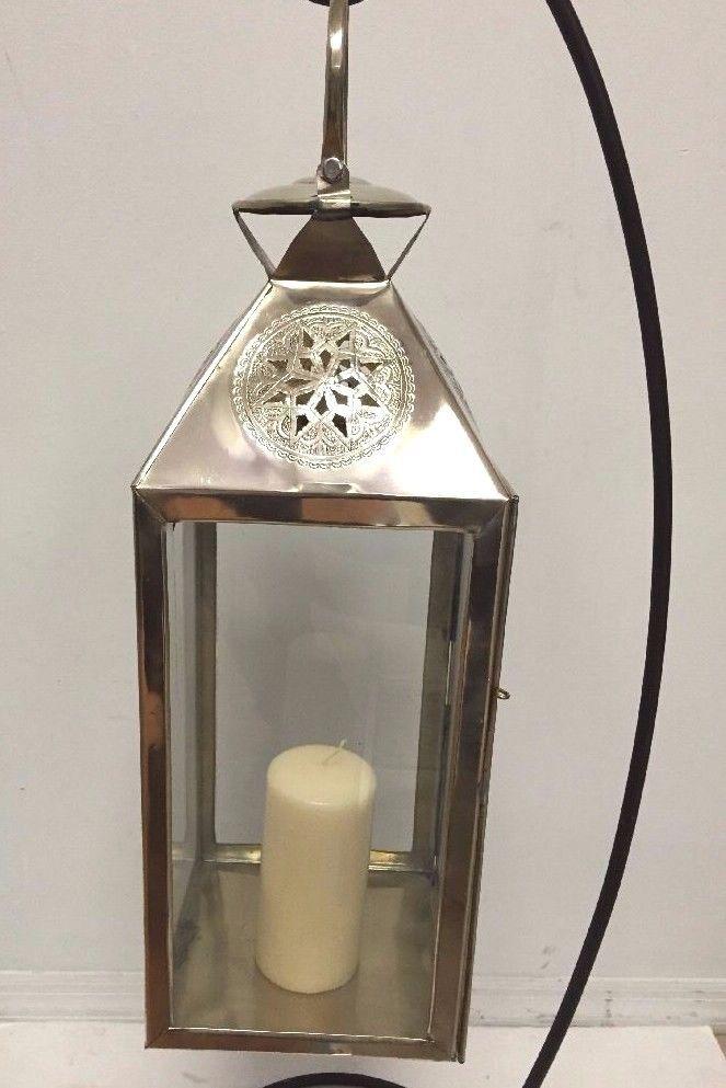 Moroccan Star Lantern Silver Metal Glass Hanging Votive Lamp
