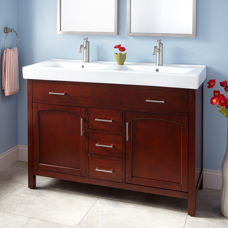 48 Bates Double Vanity Cabinet Light Cherry 48 Inch Bathroom Vanity Double Sink Bathroom Vanity Double Sink Vanity
