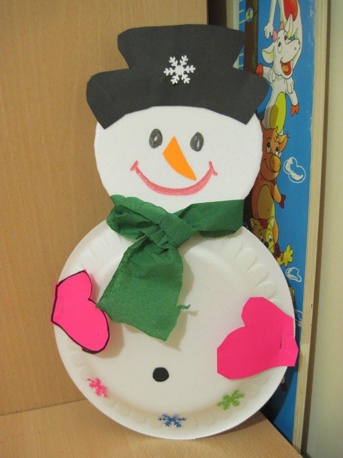 Paper Plate Snowman Craft Idea For Kids