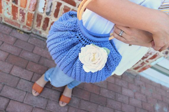 Sweet summer vintage-style  handbag - Handmade, lined, and featuring a delicate felt flower motif.