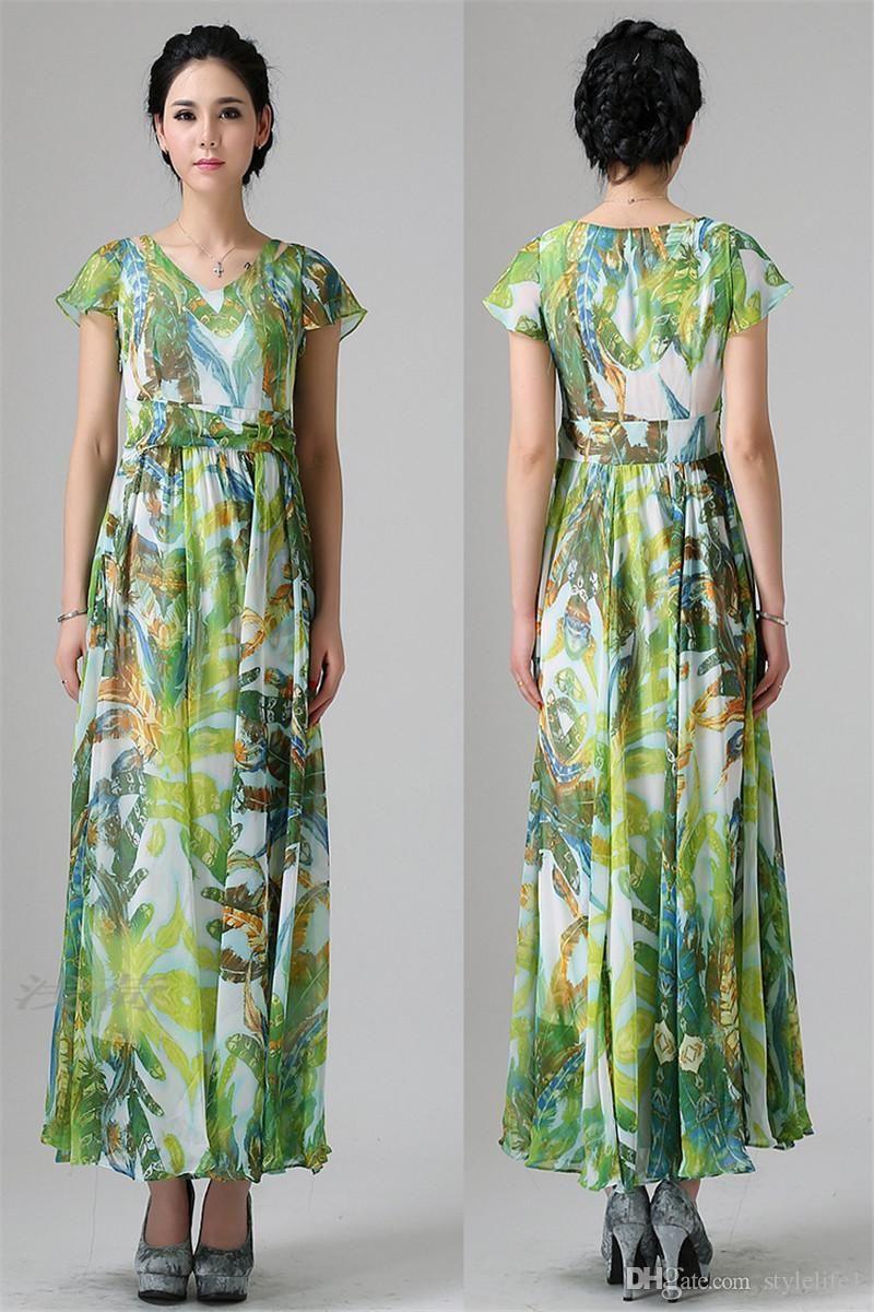 2015 Fashion green flower printed Women Summer Boho Long