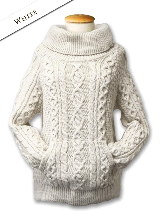 white cowl neck sweater, wool, cable knit | Clanaran | Aran knitting ...