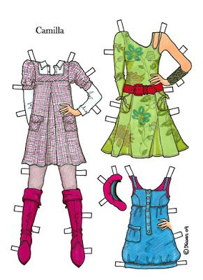 Karen`s Paper Dolls: Camilla 1-5 Påklædningsdukke i farver. Paper Doll Camilla…