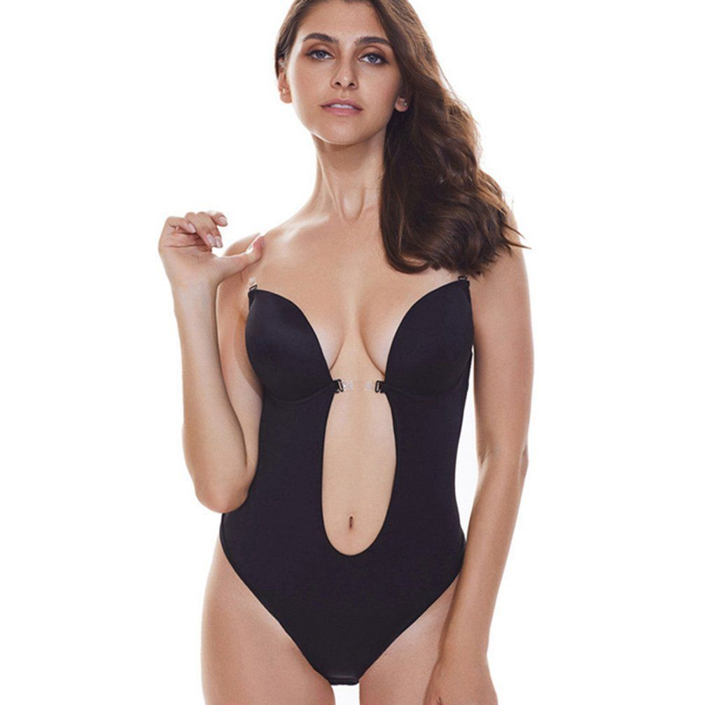 f7c1fd13350 Sexy Women Backless Shapewear Deep Plunge Body Shaper Invisible Underwear  for Dress Clear Strap Bodysuit Shapers