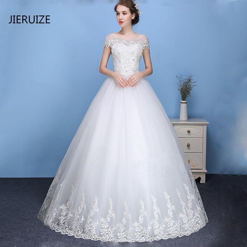 JIERUIZE White Lace Appliques Beaded Cheap Wedding Dresses 2017 Lace ...