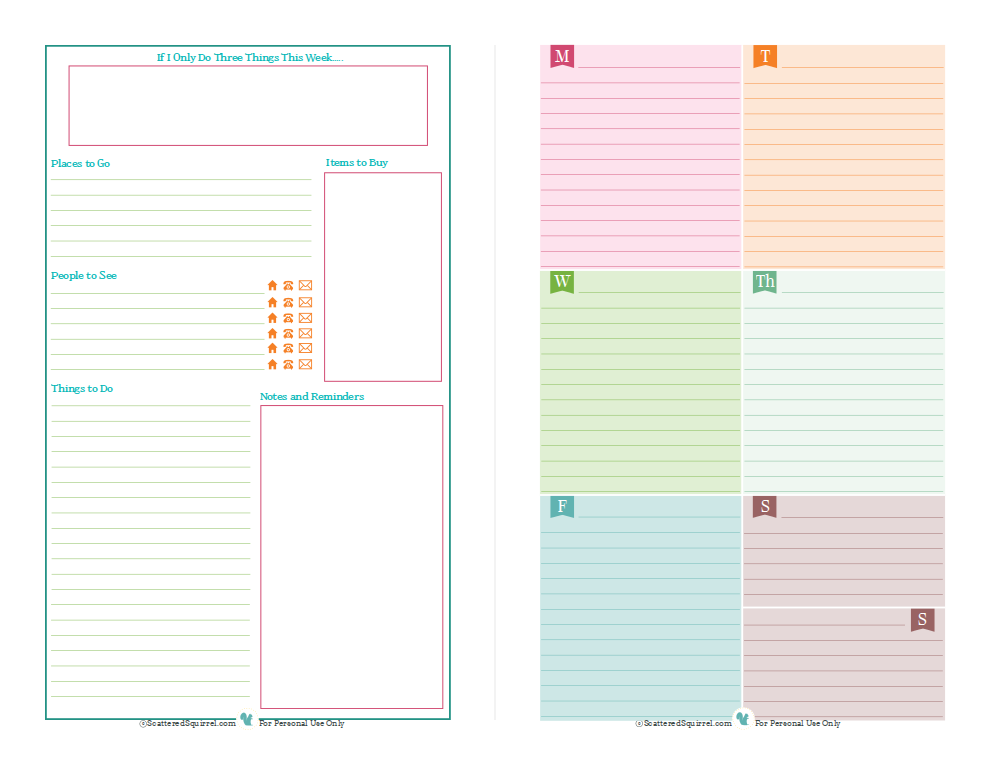 Calendar Planner Notebook : Half size planner printables mini binder and