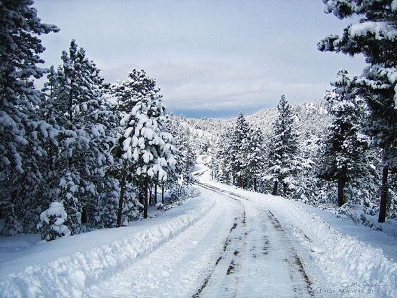 Christmas In Colorado Mountains.Colorado Winter Snowy Mountain Road Photo Art Print By