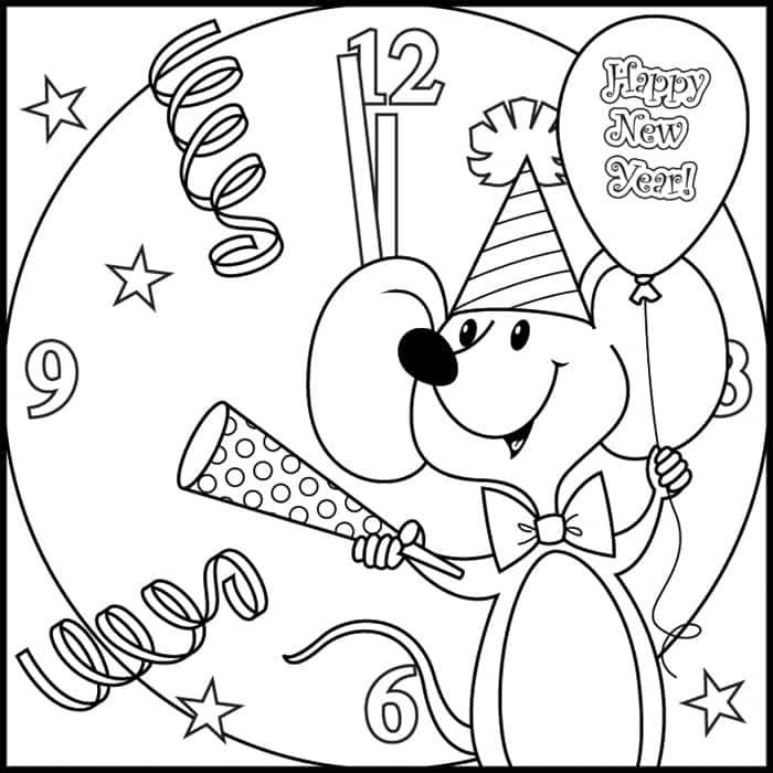 Happy new year 2018 coloring pages printable