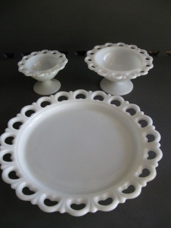Anchor Hocking Lace Edge Platter & Footed Compotes