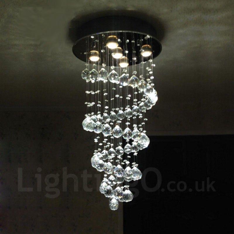 5 Lights Modern Led Crystal Ceiling Pendant Light Indoor Chandeliers Home Hanging Down Lighting Lamps Fixtures Ceiling Pendant Lights Drop Pendant Lights Ceiling Pendant