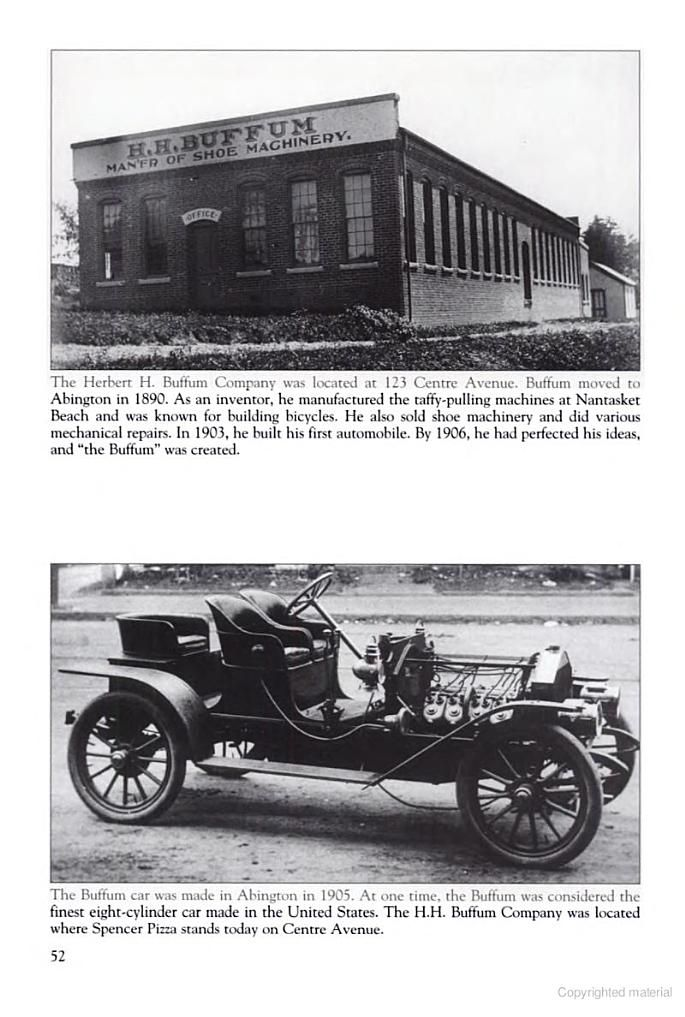 Here is the H.H. Buffum factory and the first V8 engine he created ...