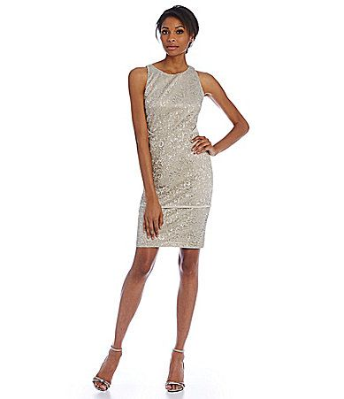 Calvin Klein Lace Sleeveless Sheath Dress #Dillards