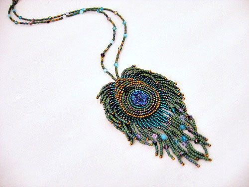 Peacock Bead Embroidered Necklace  Druse by JamieEstelleJewelry