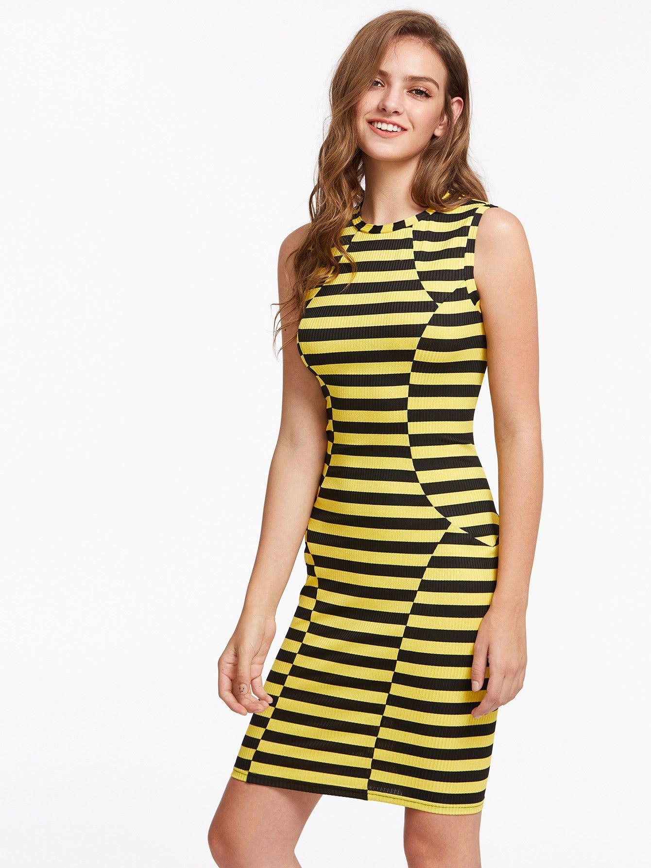 9b4a69a1140 Black and Yellow Stripe Rib Knit Paneled Dress in 2019
