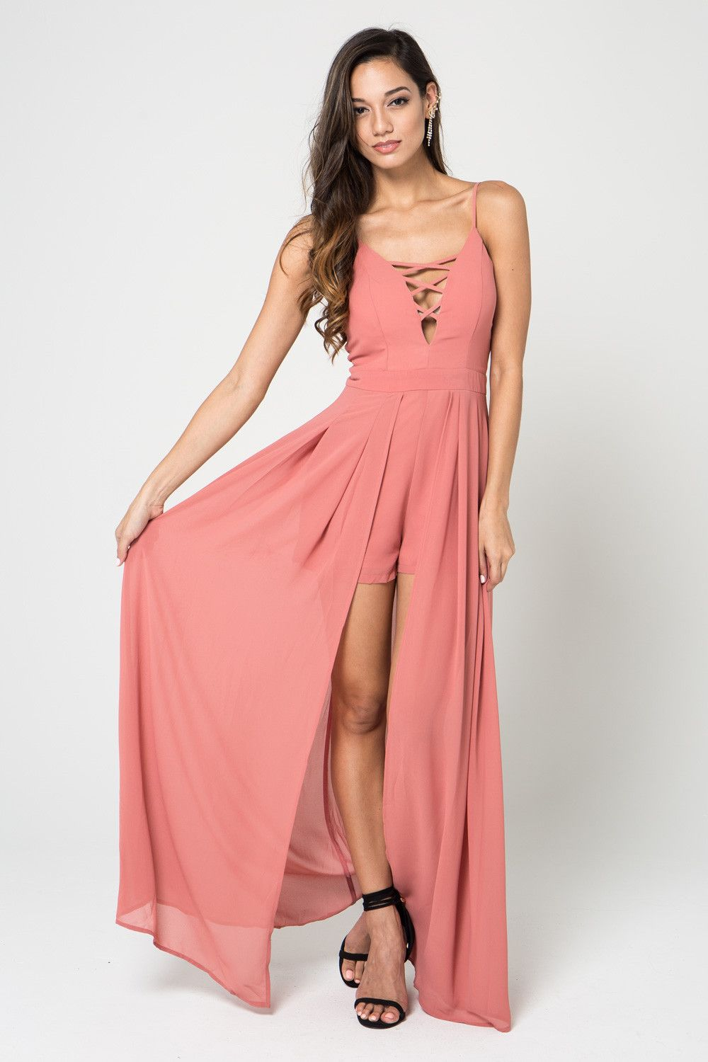 Sophia Maxi Skort Romper comes in pink and features a v-neckline ...