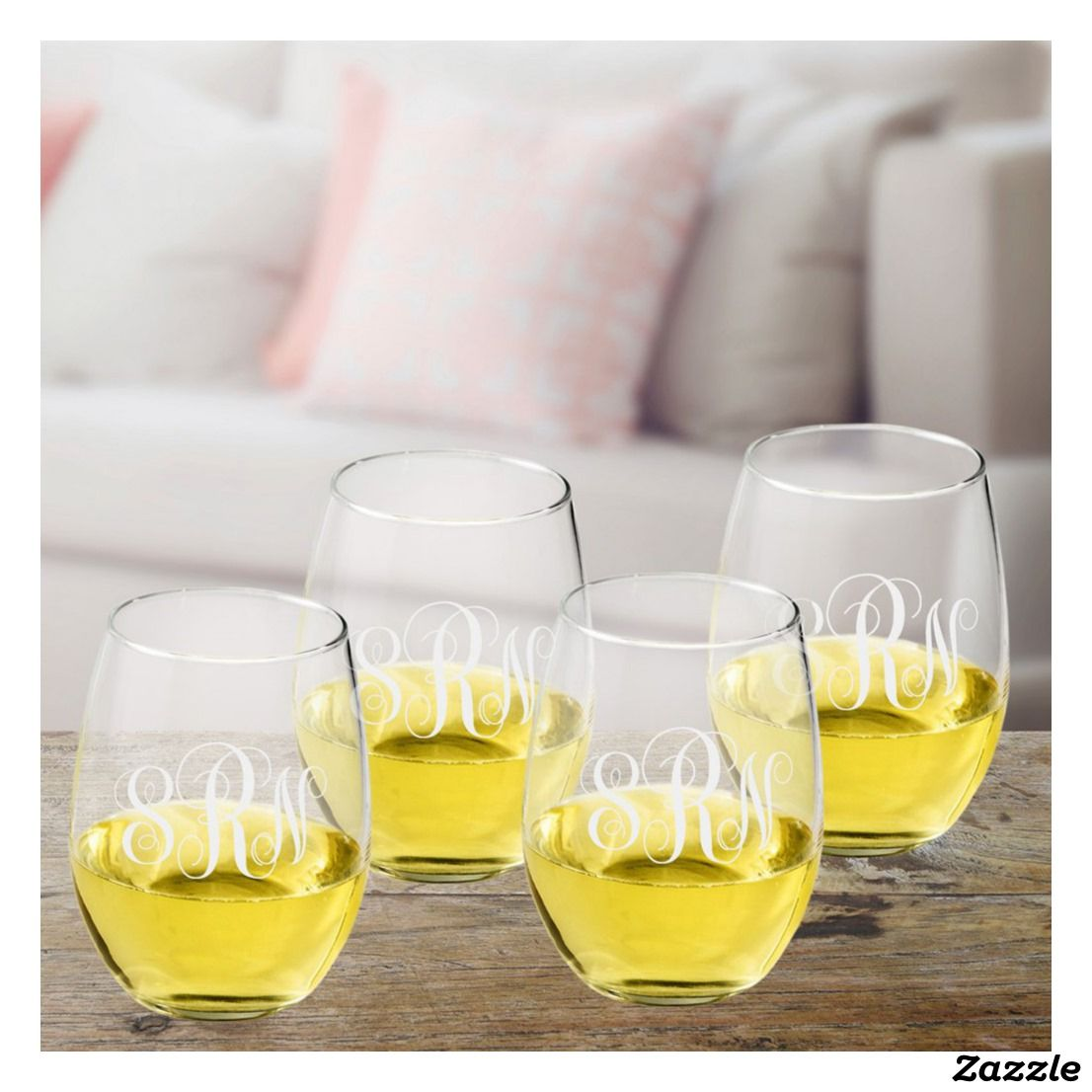 Scripted Stemless Wine Glass Set of Four | Wedding Barware ...