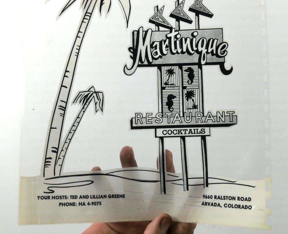 Martinique Restaurant Arvada Co Menu Clear Cover B W Photostat