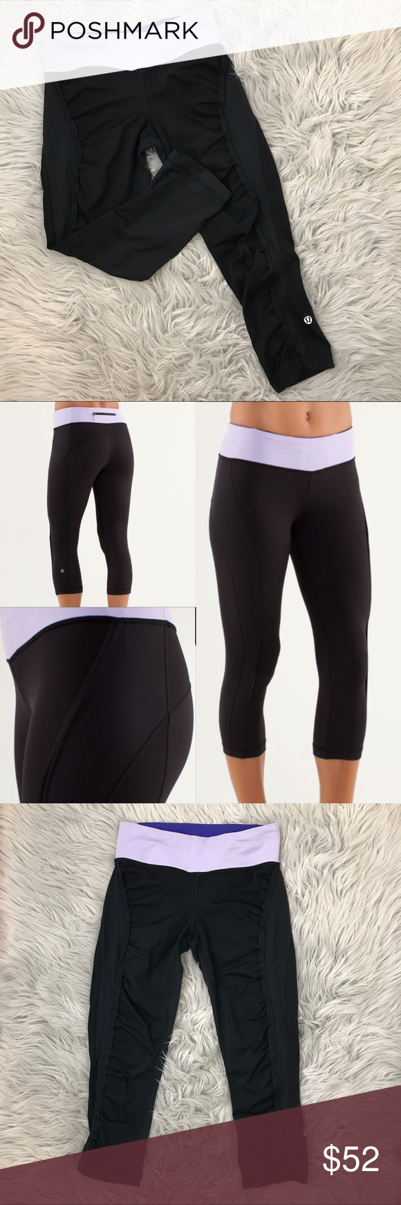 """Lululemon Run Sun Sprinter Crop 4 Great conditions no pilling  Hemmed once at lululemon shown in last picture  Adjustable string  Two hidden pockets inside waistband and one outside  8"""" front rise  19.5"""" inseam lululemon athletica Pants Ankle & Cropped"""