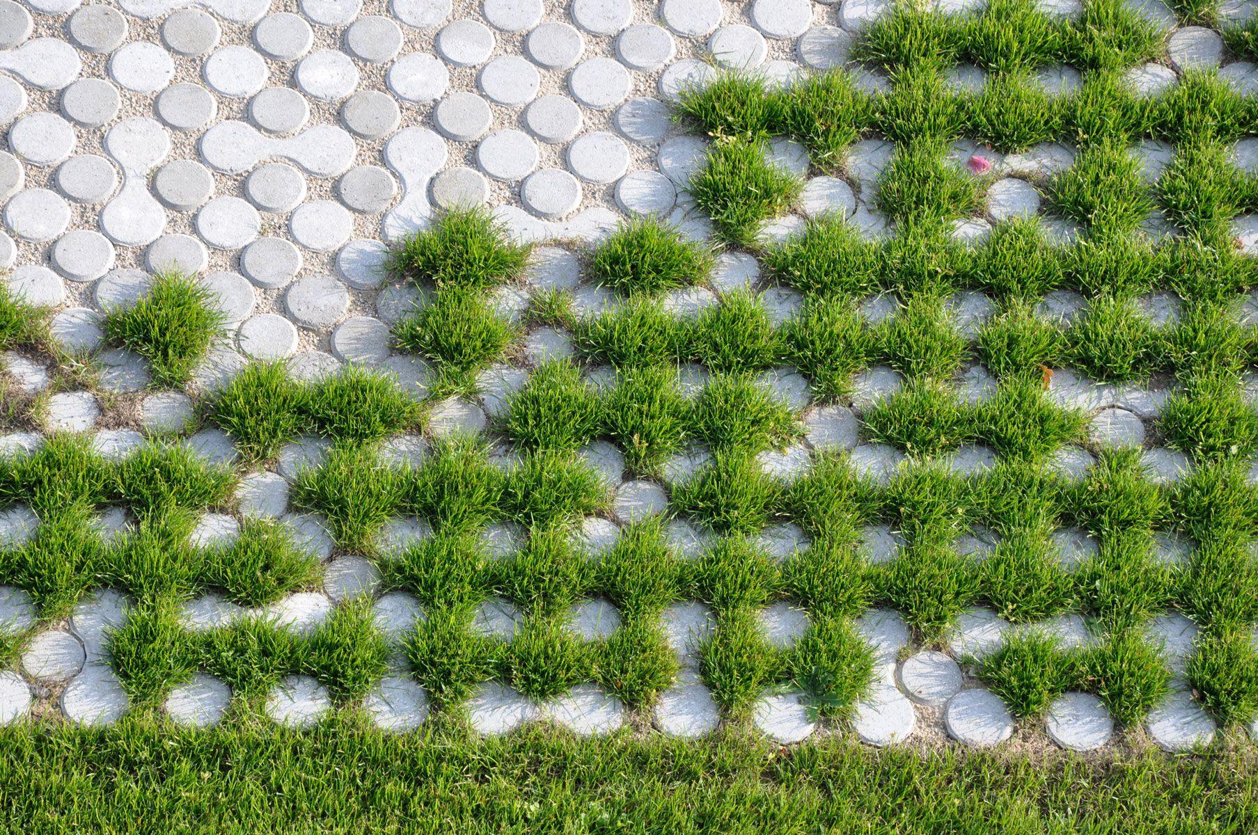 Dalle Beton Parking Herbe herbe pavé rond | aménagement paysager, paysagiste, sol