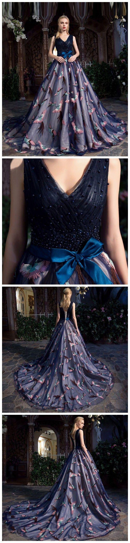 Chic aline ball gown prom dress vneck dark navy tulle prom dress