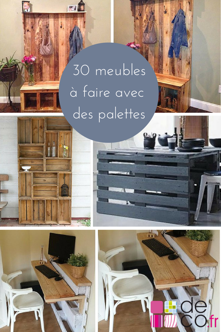 30 meubles faire avec des palettes diy r cup pinterest palette meubles et faire. Black Bedroom Furniture Sets. Home Design Ideas