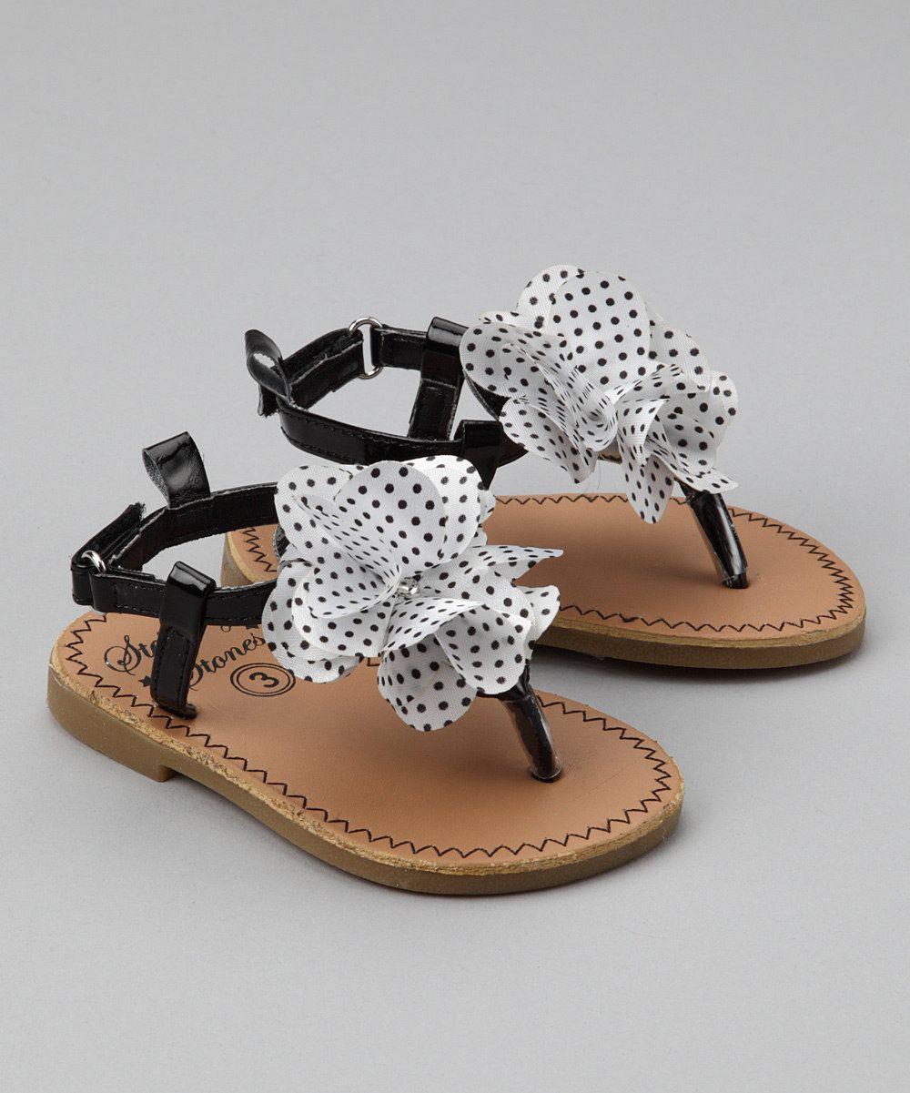 Stepping Stones - Stepping Stones Black & White Polka Dot Flower Sandal