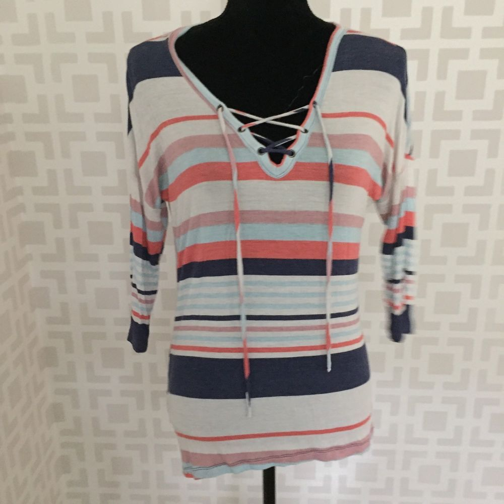 c09c79bf63 AMERICAN DREAM Womens S LACE-UP Neck Blue Coral STRIPED 3 4 Sleeve Jersey  TOP